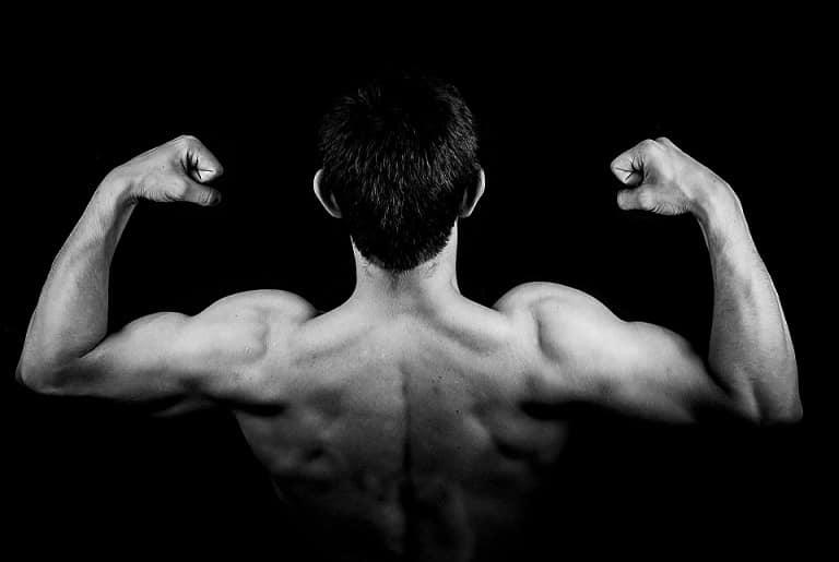 תמונה אחורית של גבר עושה שרירים עם שני הידיים