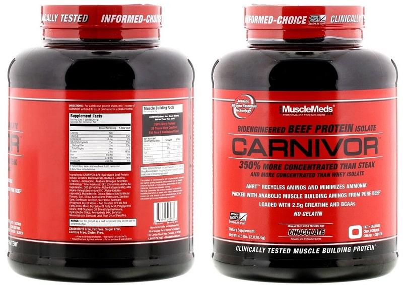 אבקת חלבון בקר איזולט קרניבור של MuscleMeds