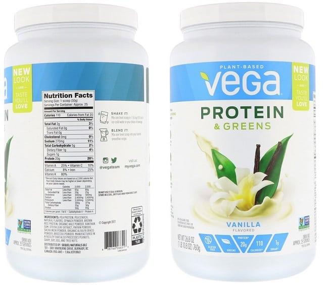 אבקת חלבון וירקות ירוקים טבעונית של VEGA