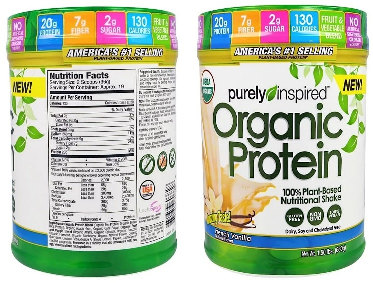 אבקת חלבון טבעונית של חברת Purely Inspired