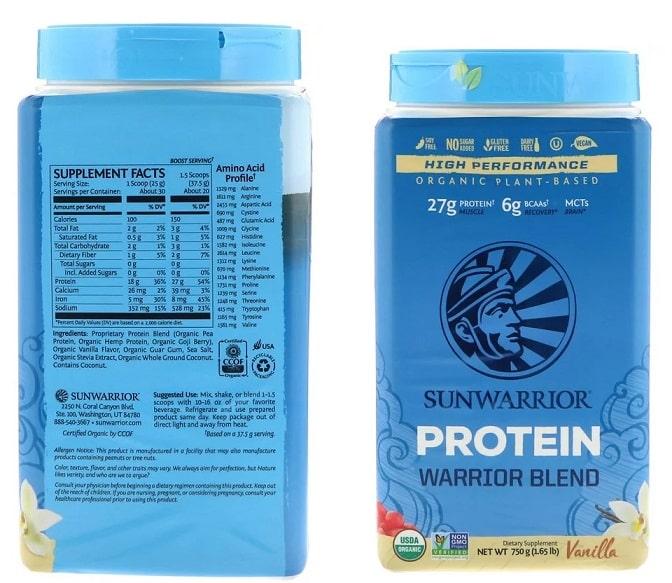 אבקת חלבון טבעונית של מותג Sunwarrior