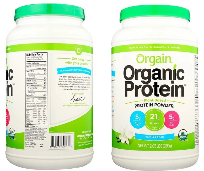אבקת חלבון עם חלבון אורז של חברת Orgain