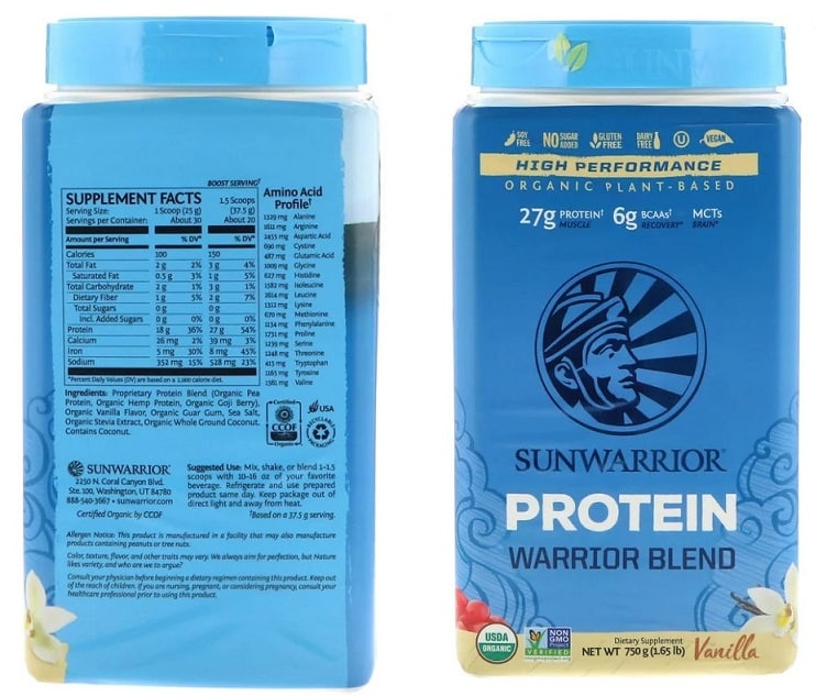 אבקת חלבון צמחי עם חלבון המפ של חברת Sunwarrior