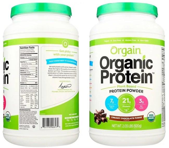 תוסף אבקת חלבון טבעונית אורגנית של חברת Orgain