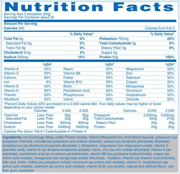 isopure zero carb ערכים תזונתיים