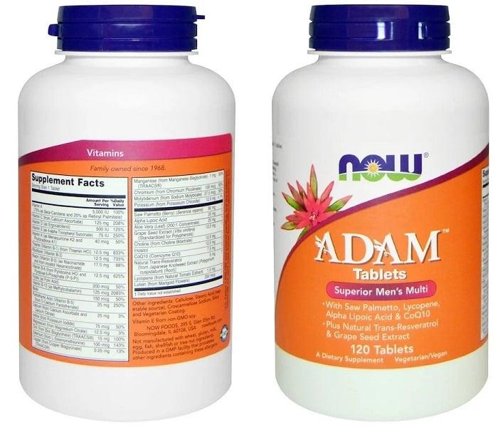 טבליות מולטי ויטמין ADAM של חברת Now Foods