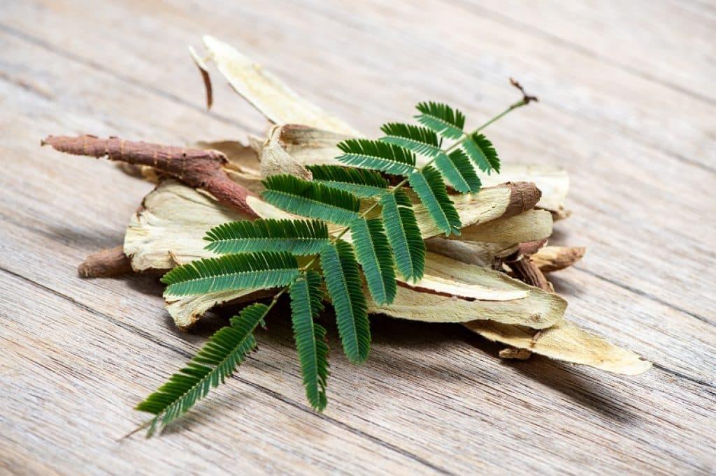 שורש ליקוריץ עם עלים מונח על משטח עץ